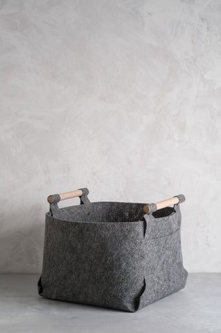 Storage Bin From Soft Felt With Wood Handles