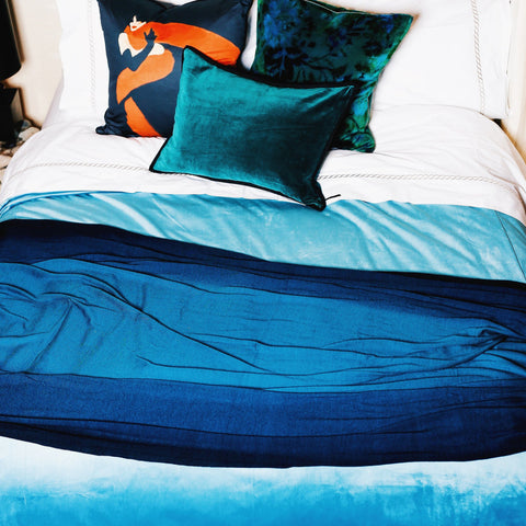 Como Duvet Cover in Cyan