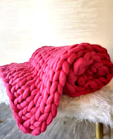 Chunky Merino Throw in Raspberry