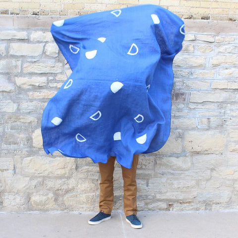 Block Printed Linen Everyday Throw - Blue Scallop