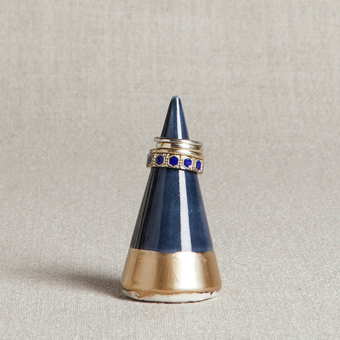 Minimalist Ring Holder - Navy + Gold