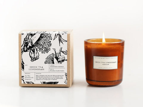 Amber Glass Soy Candle - Green Tea Lemongrass