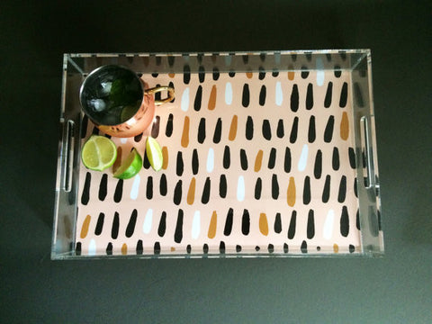 Whimsical Drops Pattern Acrylic Serving Tray