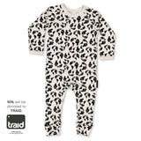 Dinki Human organic cotton onesie in earth leopard TRAID print baby style