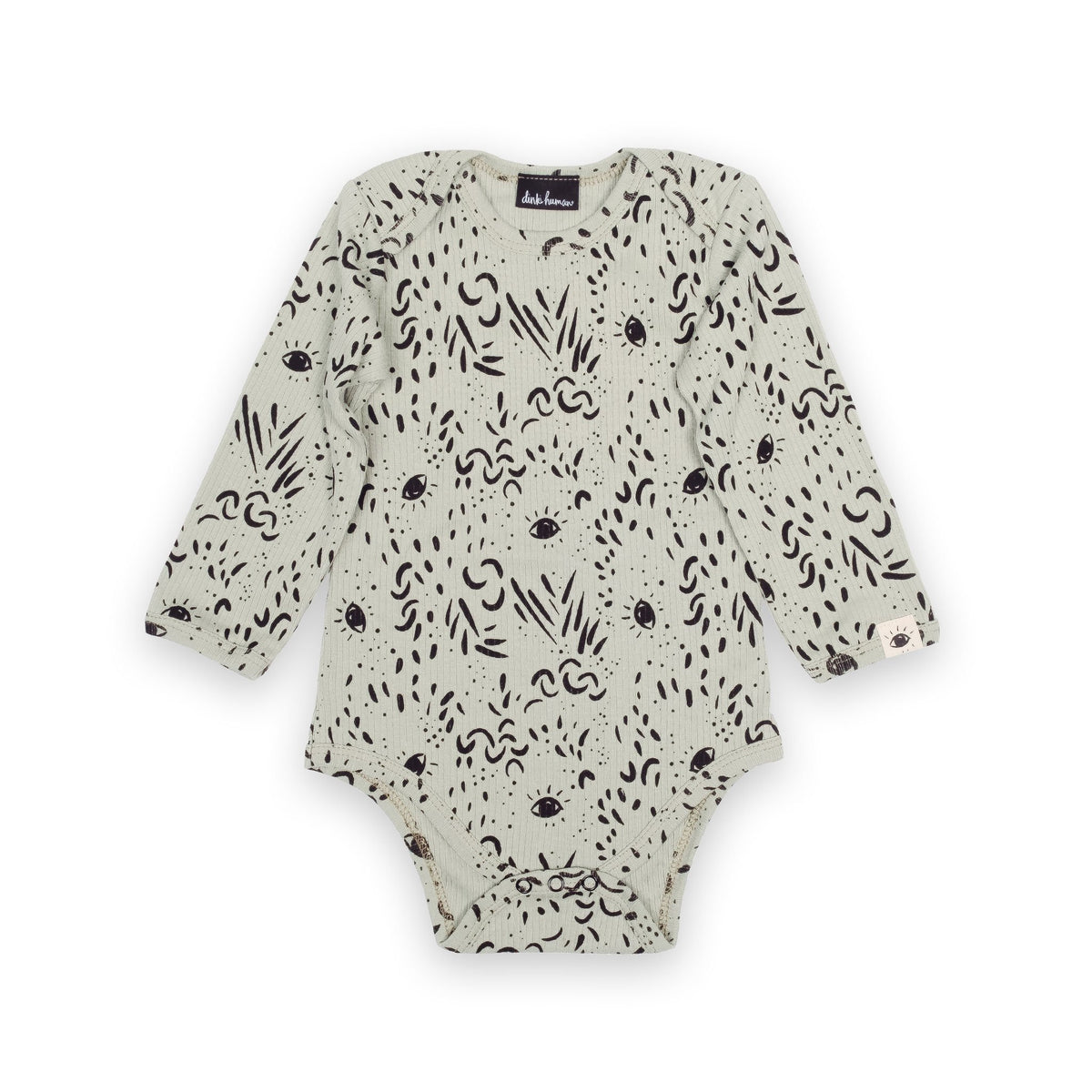 'Eyes' Organic Cotton Baby Bodysuit - Dinki Human Organic Kids Clothing