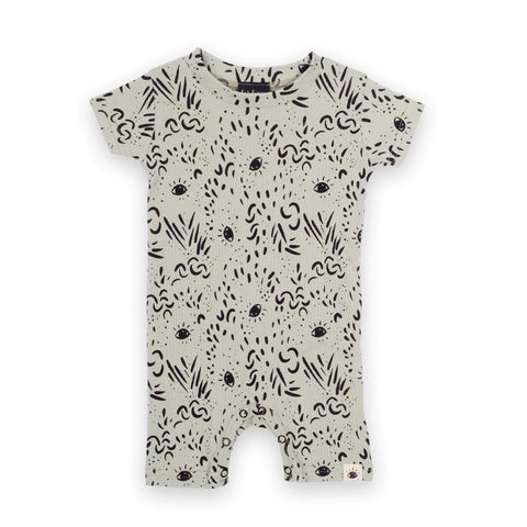 'Eyes' Organic Cotton Baby Romper - Dinki Human Organic Kids Clothing