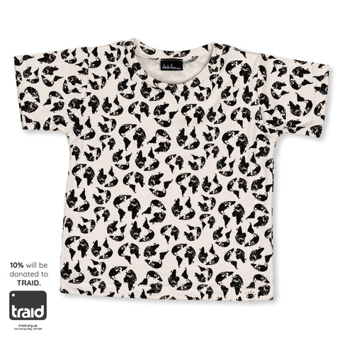 'Earth Leopard' Organic Cotton Tee - Dinki Human Organic Kids Clothing