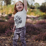 Dinki Human dinkiville printed organic cotton leggings. Kids leggings and baby leggings made to last in the UK