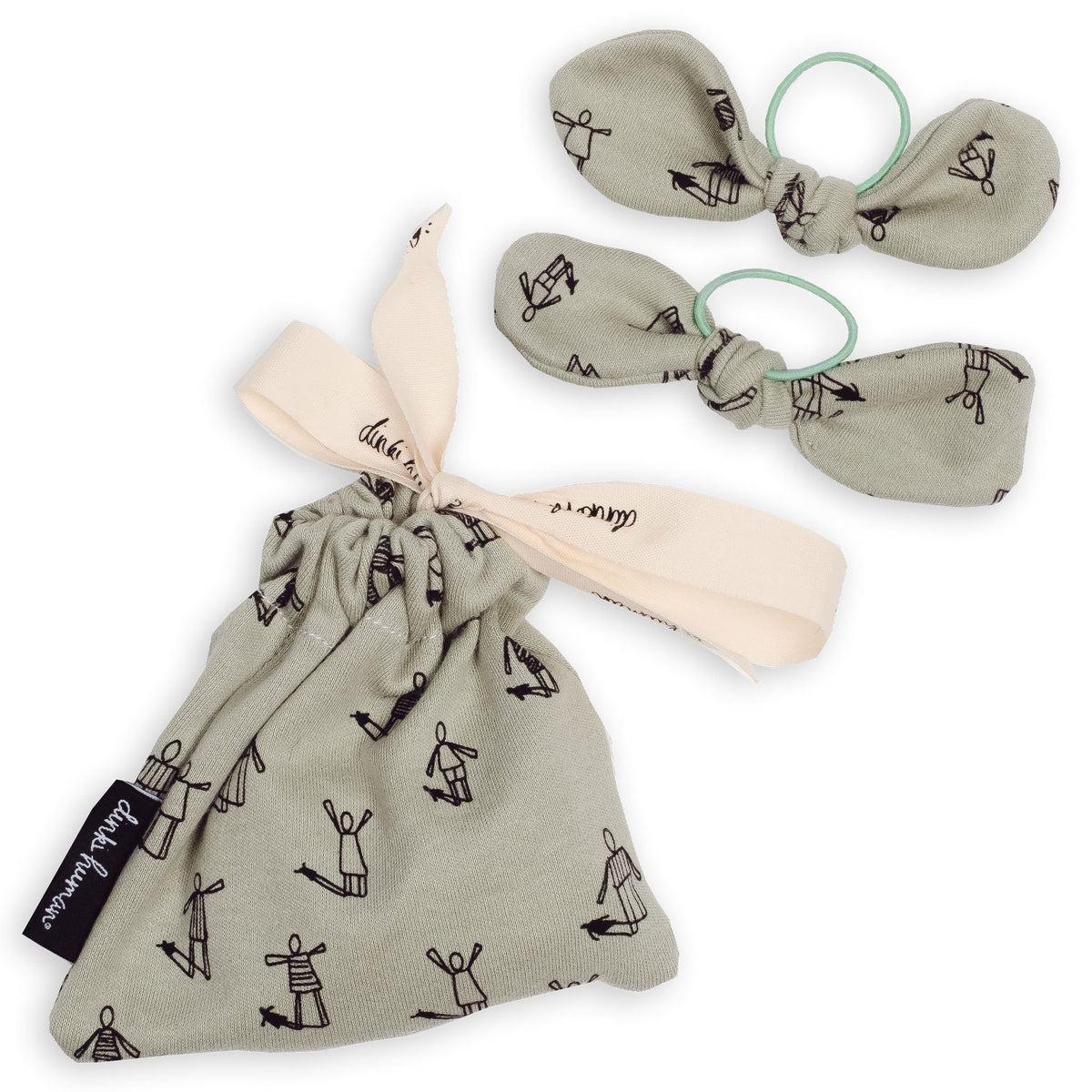 Pair of Bow Hairbands inc. Printed Gift Bag - Dinki Human Organic Kids Clothing