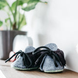 dinki human brave baby booties mocassins shoes felt handmade uk gender neutral unisex infant footwear black