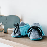 dinki human brave baby booties mocassins shoes felt handmade uk gender neutral unisex infant footwear blue