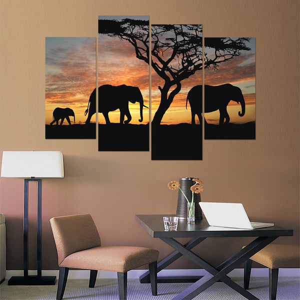 Elephant Family At Sunset Canvas