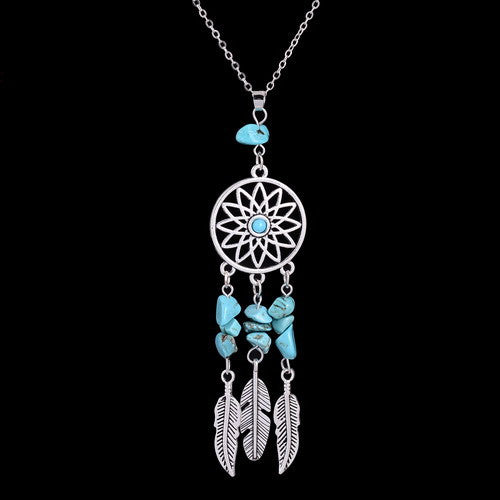 Dream Catcher Natural Crystal Necklace