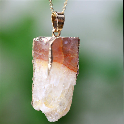 Agate Natural Stone Pendant Necklace