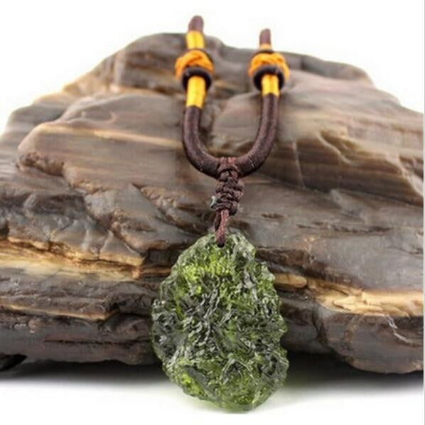 Moldavite Pendant Rope Necklace