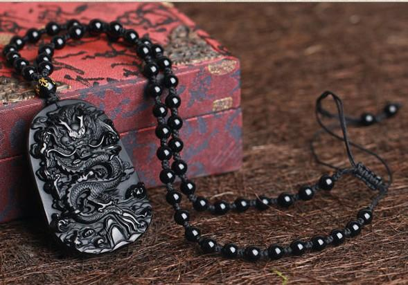 Obsidian Dragon Necklace