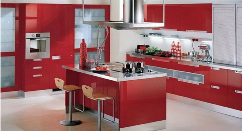 kitchen in red color