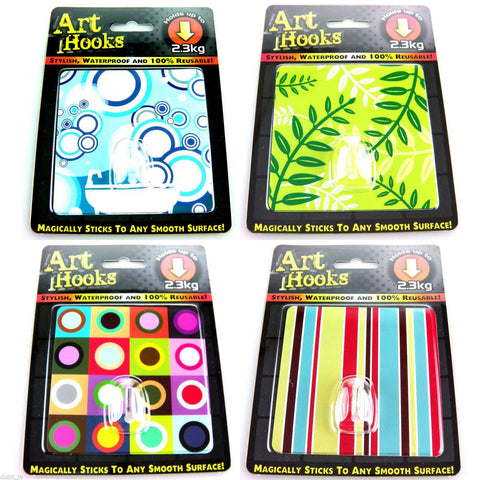 ART HOOKS - Twin Pack of Waterproof Reusable Self Adhesive Hooks - Clubit.co.uk