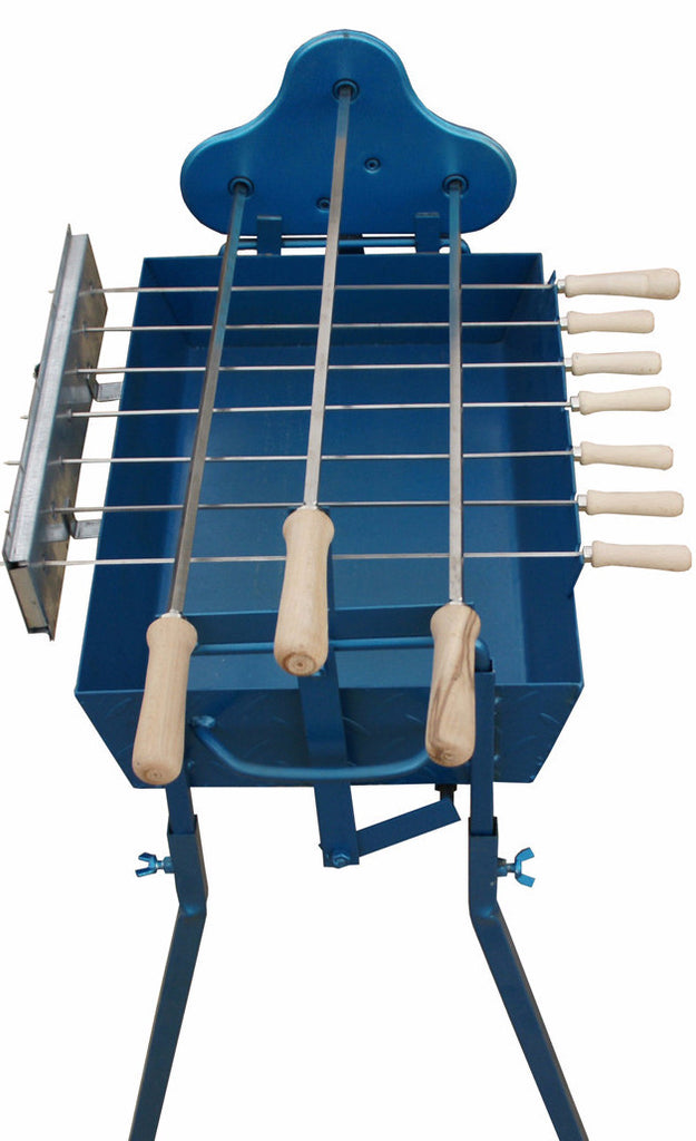 CyprusBBQ Small Blue Greek Cypriot Rotisserie Charcoal BBQ