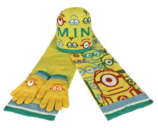 Despicable Me Minions Childrens Scarf, Beanie Hat And Glove Set