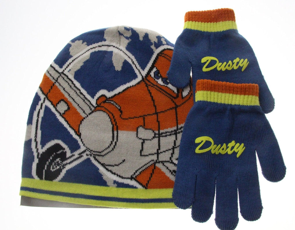 Disney Planes Dusty 2 Piece Children's Beanie Hat And Gloves Set Age 4-6 Years