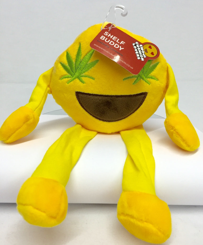 Emoji Shelf Buddy Plush with Green Leaf Design - Clubit.co.uk
