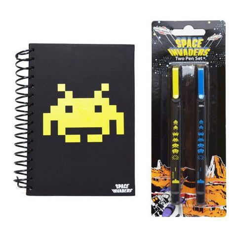 Space Invaders Retro Stationary Collection - Wiro Notebook & Two Pen Set - Clubit.co.uk