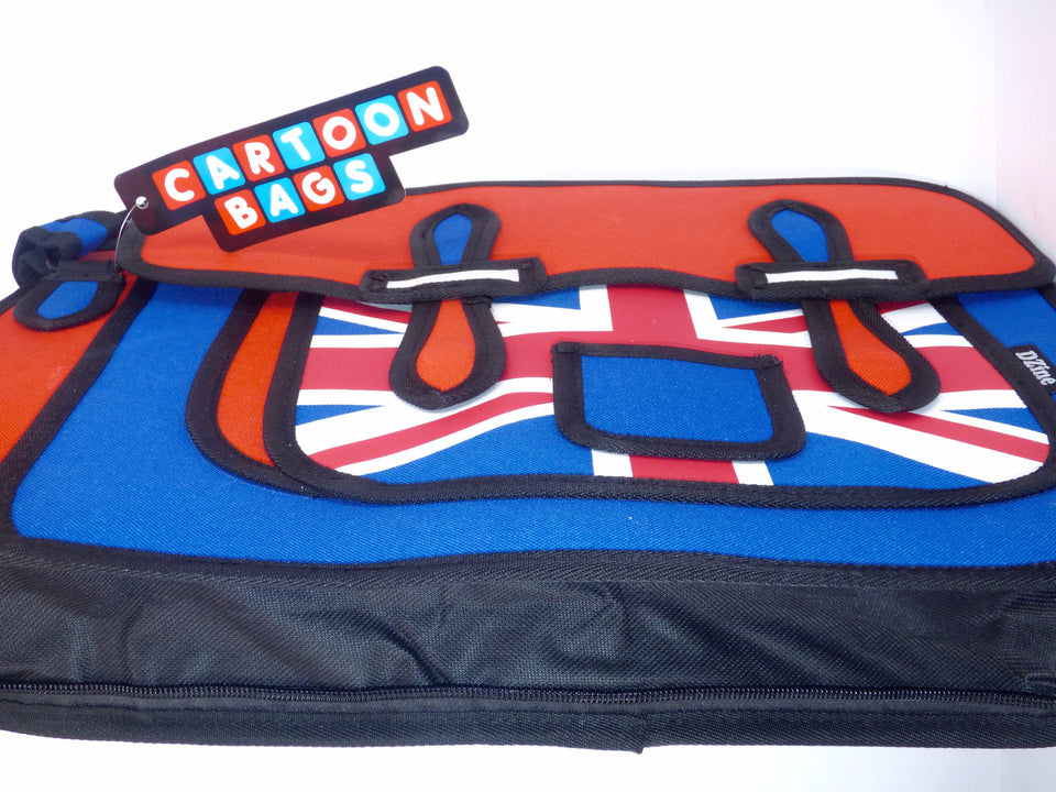 Union Jack Novelty Cartoon Design Messenger Satchel Style Bag