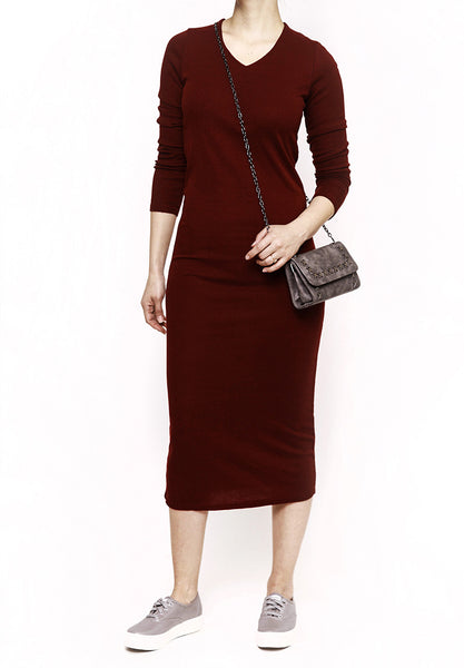 Basic Dress- maroon