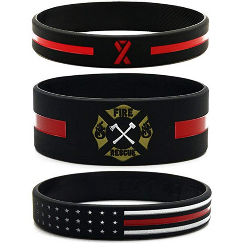 Firefighter Thin Red Line Silicone Wristband