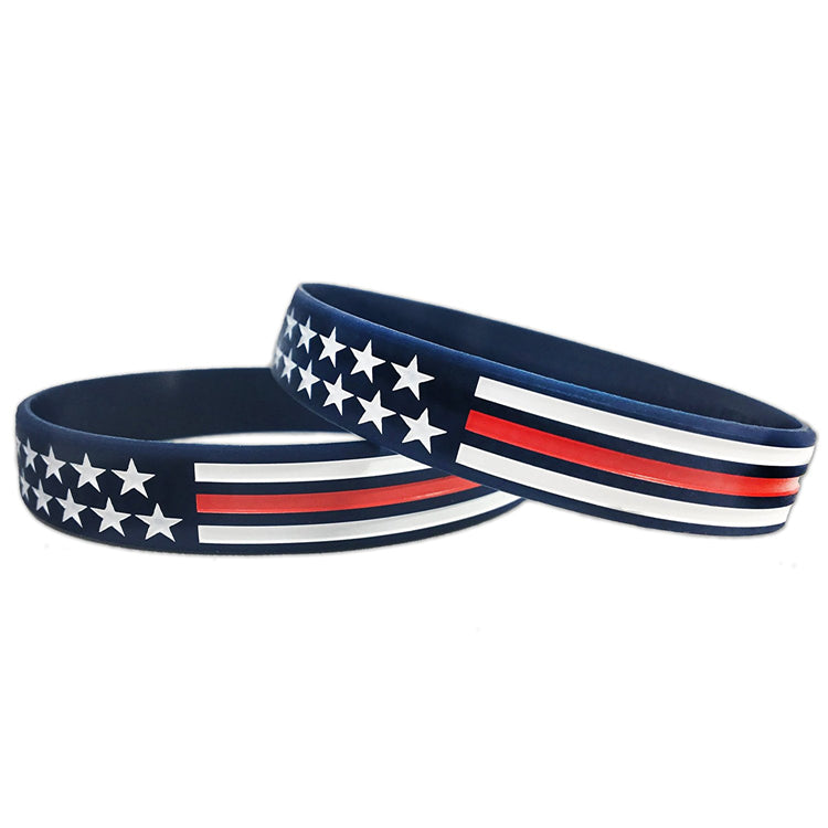Red Line Flag Silicone Bracelet