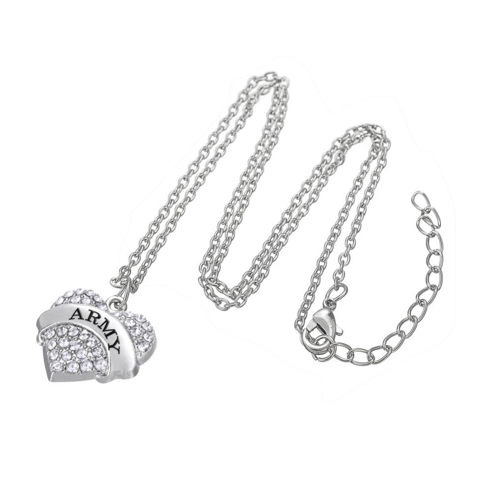 Crystal Heart Army Necklace