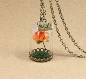 Wish Glass Rose Necklace