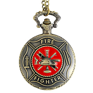 Red Firefighter Pocket Watch