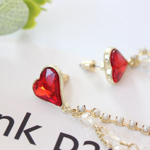 Crystal Heart HIV Awareness Earrings