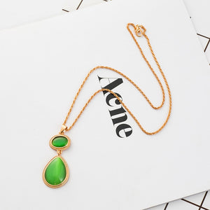 Green Water Drop Pendant Necklace