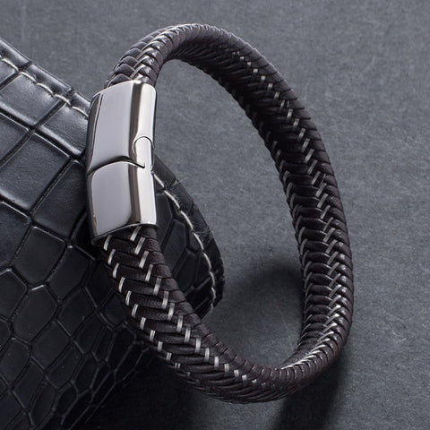 Correctional Officer Braided Leather Bracelet
