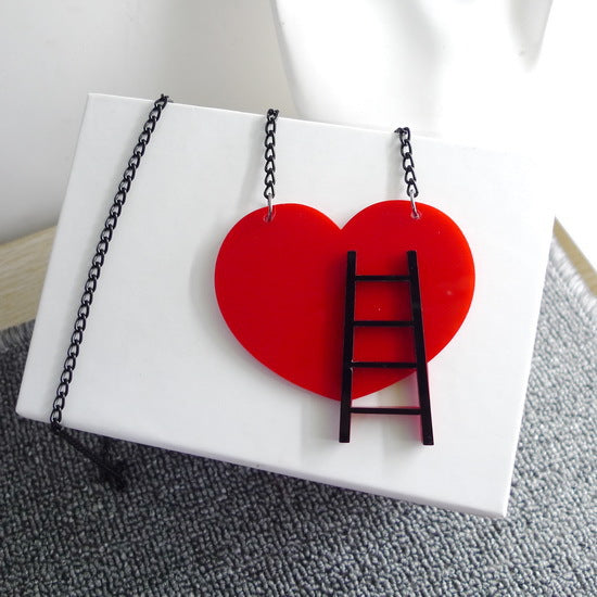 Firefighter Ladder in my Heart Necklace