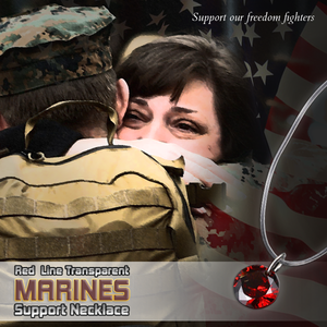 Red Line Transparent Marines Support Necklace