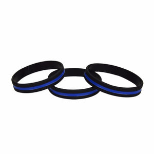 Thin Blue Line Silicon Wristband