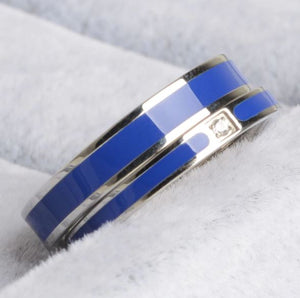 Stainless Steel Air Force Support Blue Line Ring