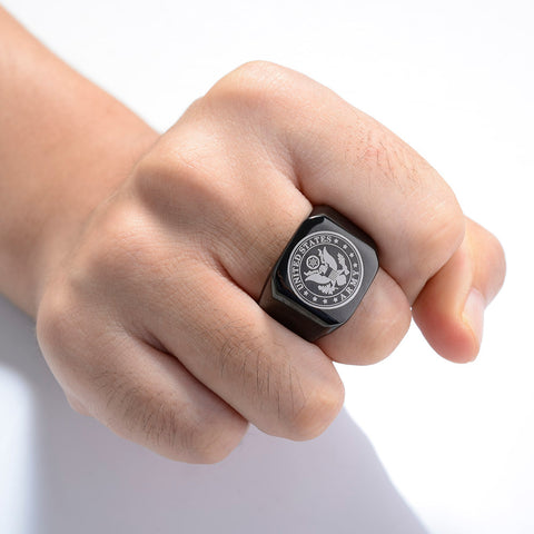 Black US Army Stainless Steel Ring