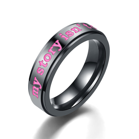 "Black Stainless Steel ""My Story Isn't Over Yet"" Suicide Awareness Ring"