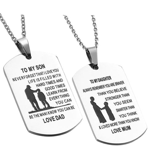 Engraved Parent to Child Dogtag Necklace