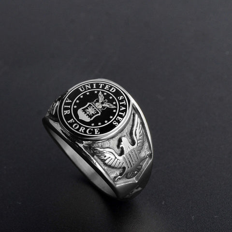 Silver Air Force Emblem Ring