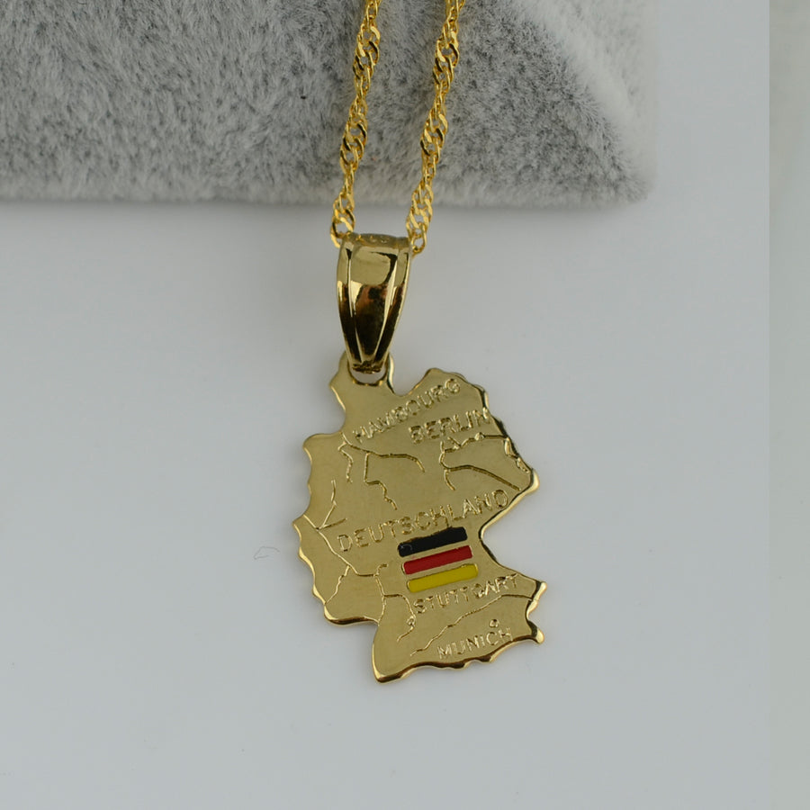 Deutschland Map Flag Necklace