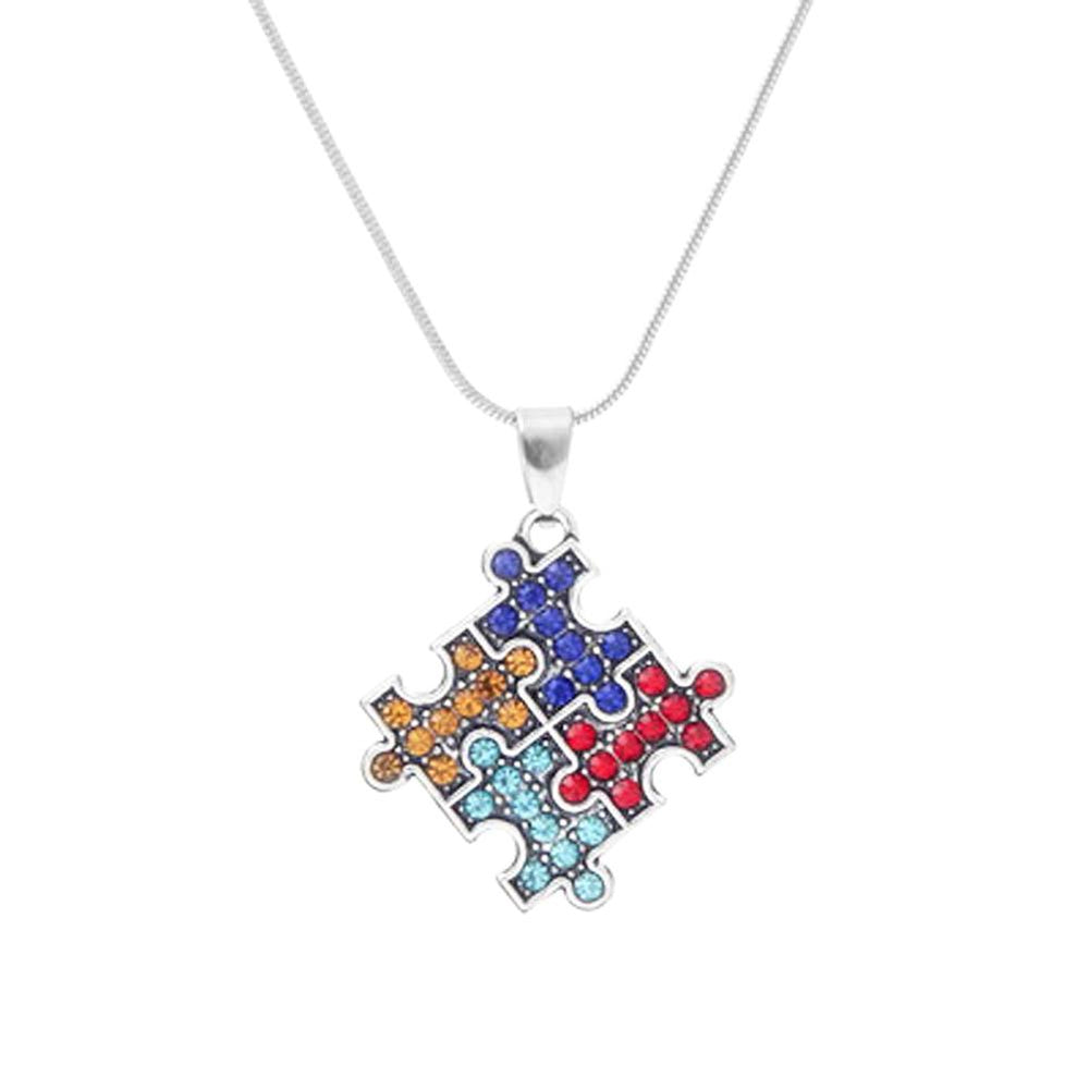 Autism Awareness Crystal Puzzle Necklace