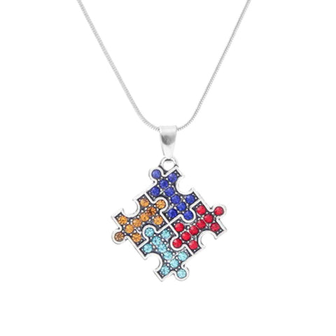 Autism Crystal Puzzle Necklace