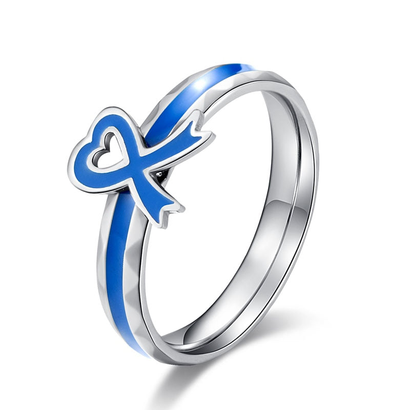 Blue Colon Cancer Awareness Ribbon Ring