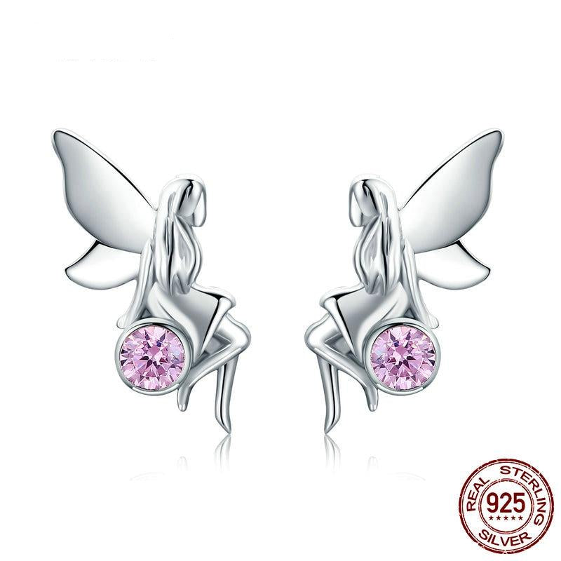 Pink Gem Fairy Breast Cancer Awareness Stud Earrings